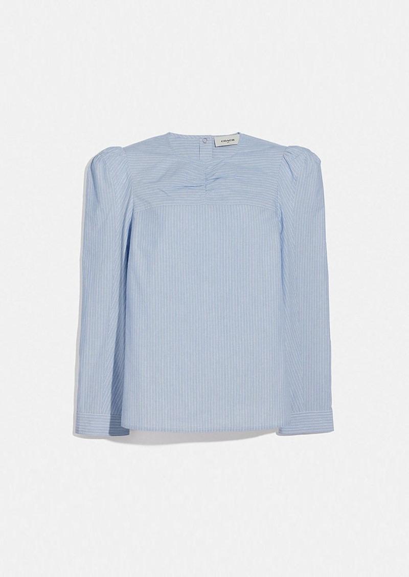 Coach striped cotton long sleeve blouse