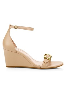 f1501e478 Coach Odetta Leather Slingback Wedge Sandals