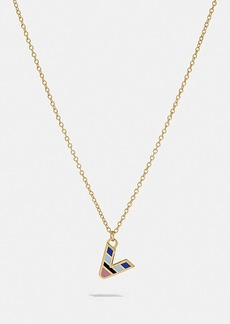 Coach 80's retro alphabet v charm necklace