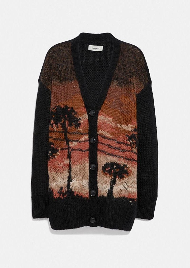 Coach palm tree intarsia cardigan