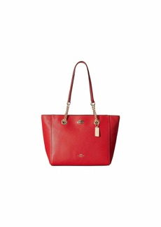Coach Pebbled Turnlock Chain Tote 27