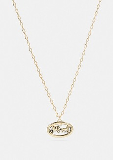 Coach horse and carriage oval necklace