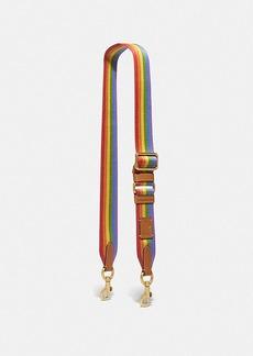 Coach strap with rainbow stripe