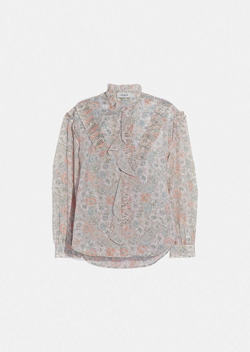 Coach printed long sleeve blouse with ruffles