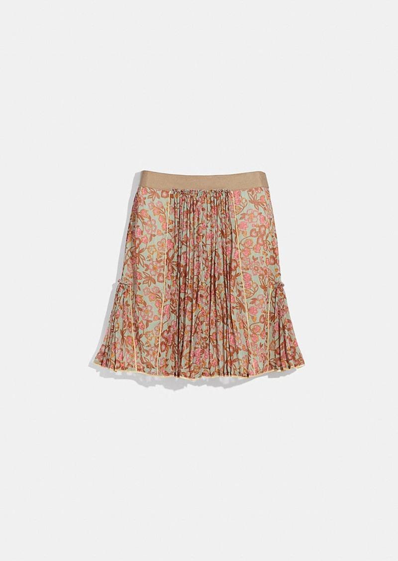 Coach retro floral print pleated skirt