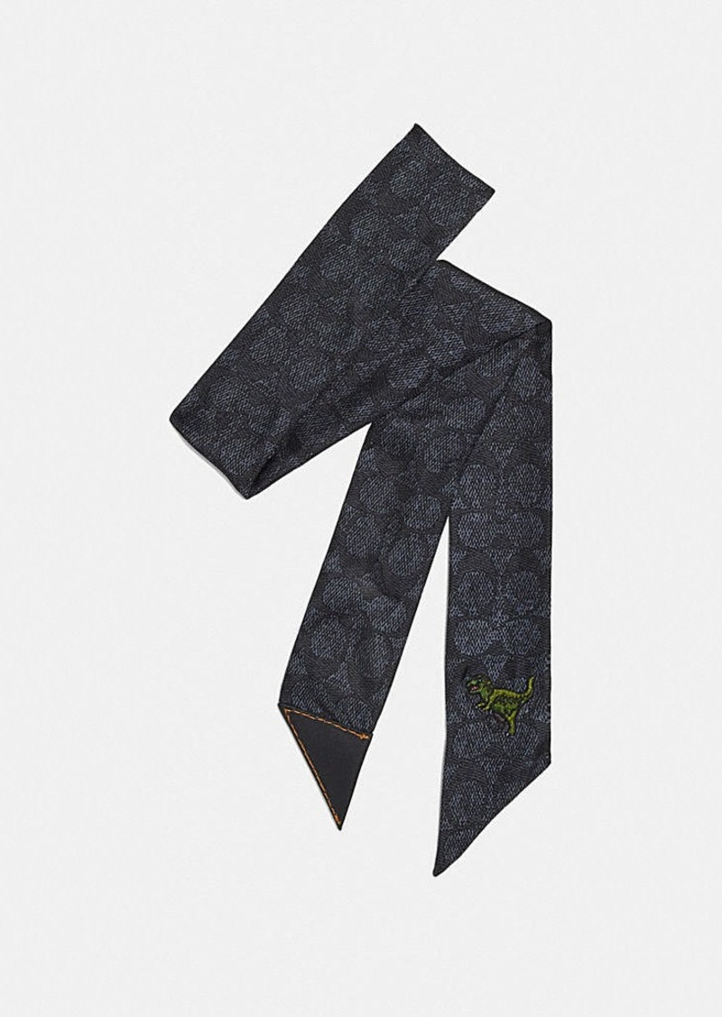 Coach rexy print silk skinny scarf with leather tab