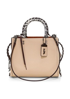 Coach Rogue 25 Whipstitch Snakeskin & Leather Top Handle Bag