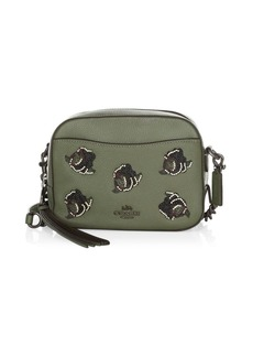 Coach Rose Appliqué Leather Camera Bag