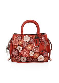 Coach Rose Applique Pebble Leather Shoulder Bag