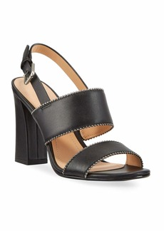 Coach Rylie Bead-Chain Leather Slingback Sandals
