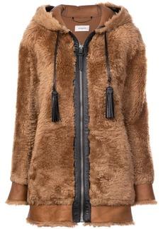 Coach shearling hooded coat