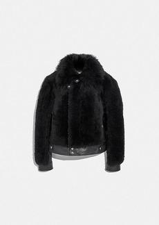 Coach short shearling jacket