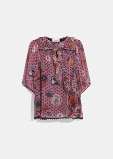 Coach short sleeve blouse with kaffe fassett print