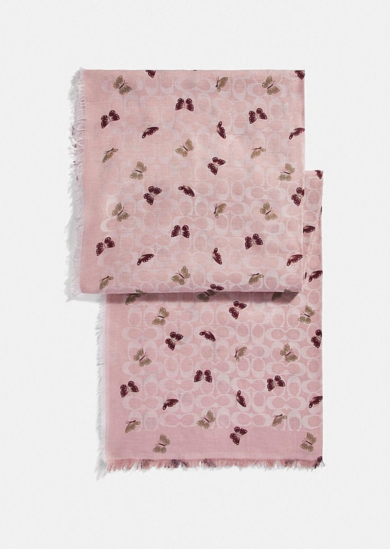 Coach signature butterfly print oblong scarf