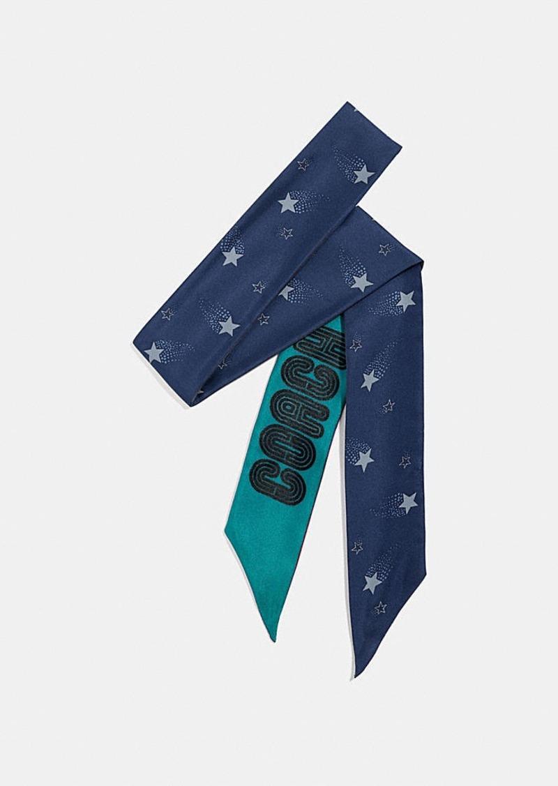 Coach signature magic star print silk skinny scarf