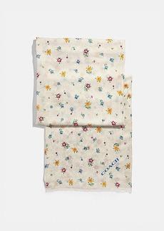 Coach signature wildflower print oblong scarf