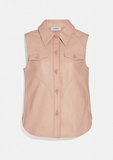 Coach sleeveless western leather shirt