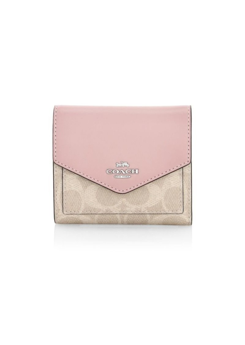 Coach Small Colorblock Leather & Signature Coated Canvas Wallet