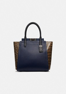 Coach troupe tote with colorblock snakeskin detail