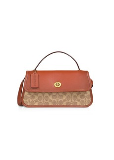 Coach Turnlock Signature Coated Canvas & Leather Clutch