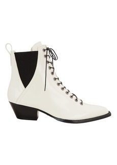 Coach White Leather Booties