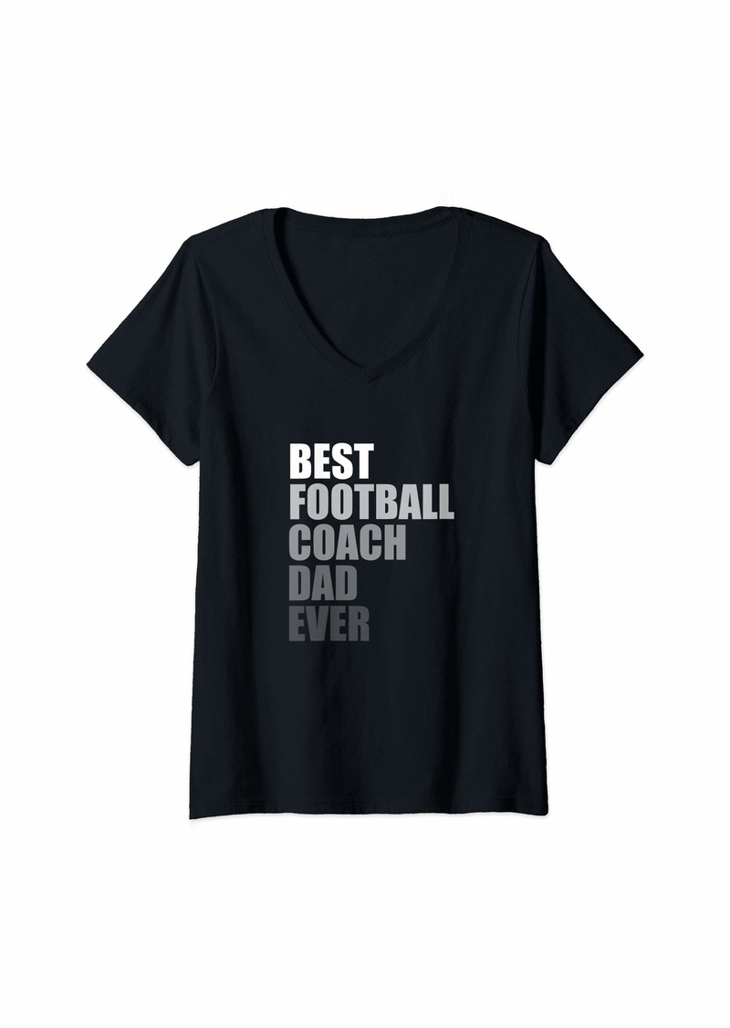 Womens Best Football Coach Dad Ever Football Coach V-Neck T-Shirt