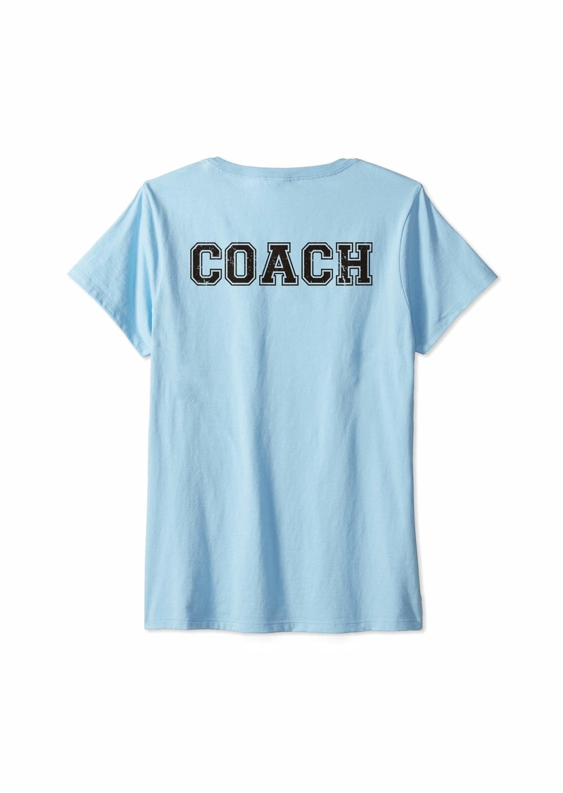 Womens Coach On Back For Softball Gift Coaching Team Baseball V-Neck T-Shirt