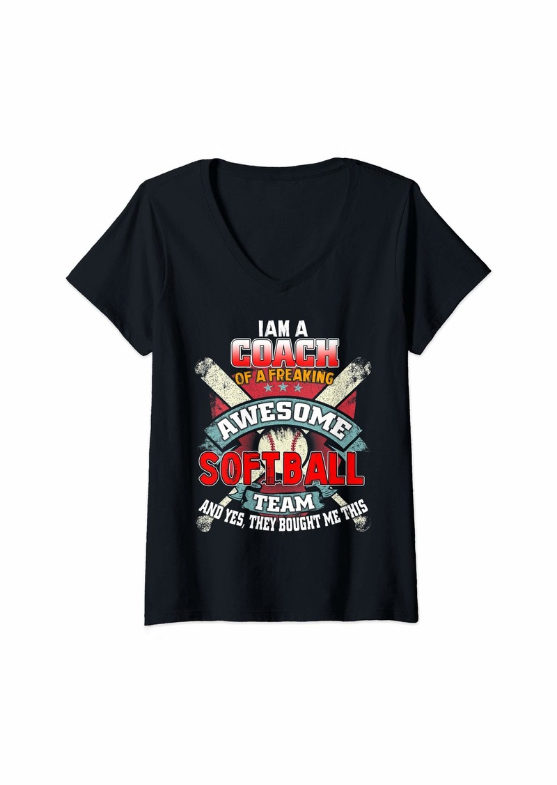 Womens I Am A Coach Of A Freaking Softball Bat Baseball Player V-Neck T-Shirt