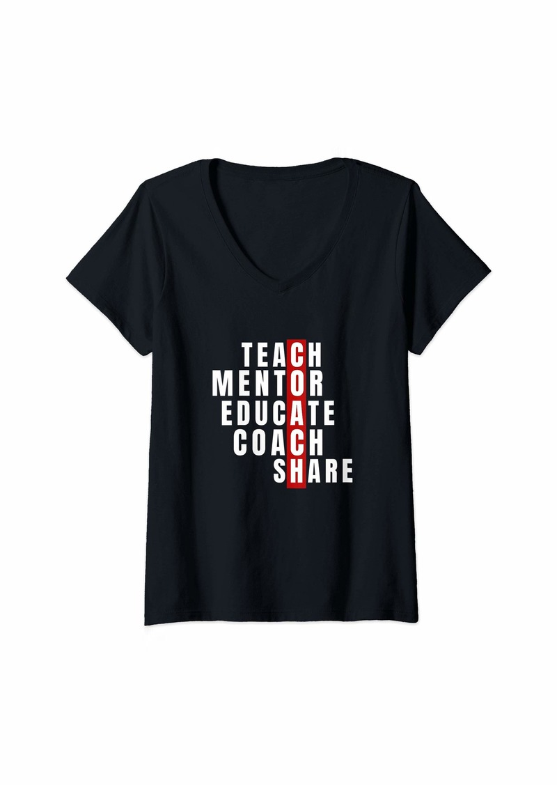 Womens Teach Mentor Educate Coach Share - Coach Teacher V-Neck T-Shirt
