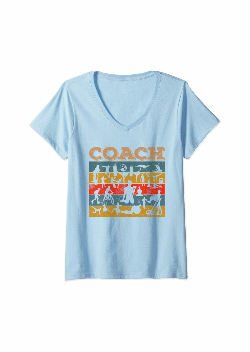 Womens Vintage Style Retro Distressed Coach Sports Lover Gift V-Neck T-Shirt
