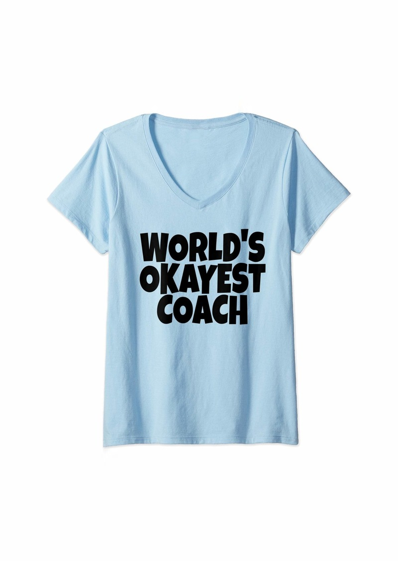 Womens World's Okayest Coach Lead Mentor Coaching  V-Neck T-Shirt