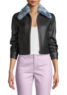 Coach x Selena Gomez Leather Jacket with Faux-Fur Collar