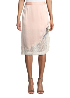 Coach x Selena Gomez Midi Skirt with Lace Trim