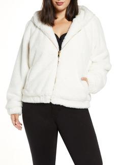 Plus Size Women's Coldesina Faux Fur Bomber Jacket