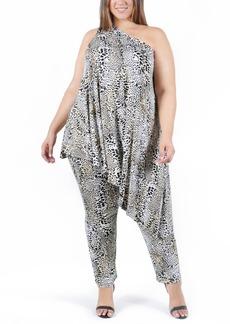 Plus Size Women's Coldesina Genevieve One-Shoulder Top & Pants Set