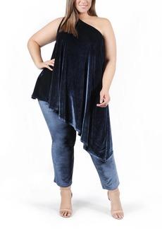 Plus Size Women's Coldesina Genevieve Velvet One-Shoulder Top & Pants Set