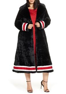 Plus Size Women's Coldesina Grosgrain Ribbon Trim Faux Fur Swing Coat