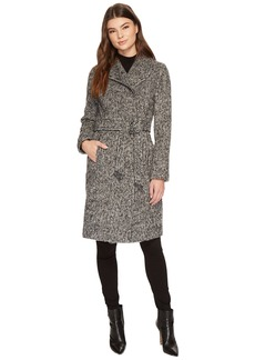 Cole Haan Belted Asymmetrical Coat w/ Shawl Collar