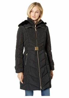Cole Haan Belted Zip Front Down Jacket with Faux Fur Removable Hood