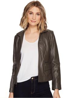 "Cole Haan 23"" Zip Front Wing Collar Jacket with Exposed Zip Pockets & Pocket Flaps"