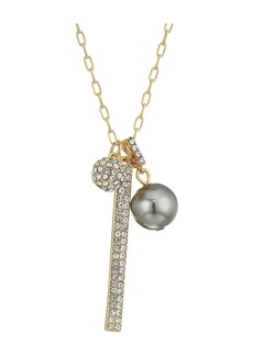 """Cole Haan 28"""" Double Pave Charm/Pearl Necklace"""