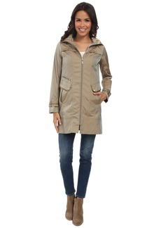 """Cole Haan 34"""" Single Breasted Hooded Raincoat"""