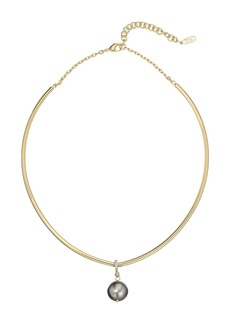 """Cole Haan 5.25"""" Wire Collar with Pearl Drop Necklace"""
