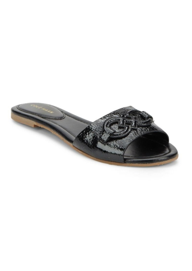 Cole Haan Allegra Embossed Patent Leather Slide Sandals