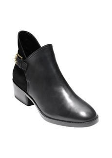 Cole Haan Althea Leather and Suede Buckle Booties
