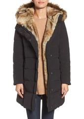 Cole Haan Asymmetrical Down Coat with Faux Fur Trim