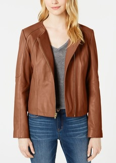 Cole Haan Asymmetrical Leather Moto Jacket