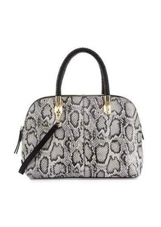 Cole Haan Benson Large Snake-Print Leather Dome Satchel Bag