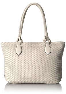 Cole Haan Bethany Woven Leather Zip Tote ivory