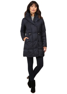 Cole Haan Bib Front Down Coat with Oversized Shawl Collar